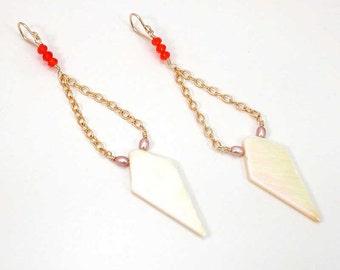 Art Deco Shoulder Duster - Geometric Shell Dangle - Hipster Long Shell Earrings - Opalescent Arrowhead Earring - Hipster Statement Earring
