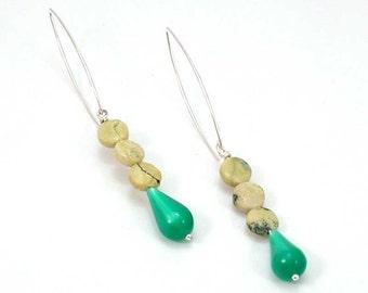 Green Rock Earrings - Vintage Green Lucite Drops - Stone Hippie Shoulder Duster - Long Boho Dangle Earrings - Retro Statement Green Earring
