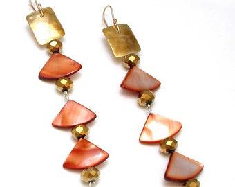 Hammered Brass Earring - Bronze Shell Crystal Earrings - Shoulder Duster Mermaid Earrings - Geometric Statement Earring