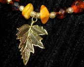 Autumn Amber Leaf Necklace