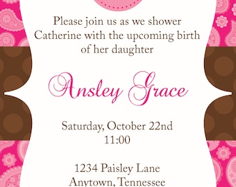 pink and brown paisley baby shower invitation