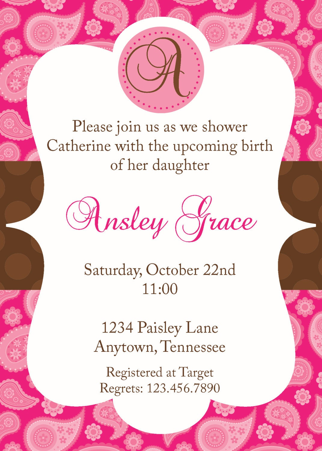 pink and brown paisley baby shower invitation by sweetappleberry