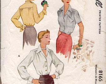 McCall sewing pattern 8165 yoked blouse 1950s
