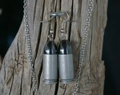 Necklace and Earrings Set Aluminum 40 Caliber Shells and Hematite Bullets