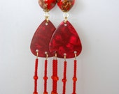Gold on Red Beads Pearlized Red Guitar Pick Bright Red Seed Bead Fringed Earrings