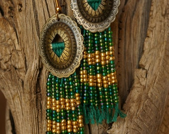 Green and Gold Beaded Fringe Concho Earrings