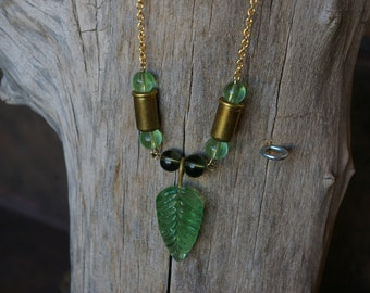 """Green Glass Leaf and 32 Caliber Bullet Shell Necklace 31"""" Long"""
