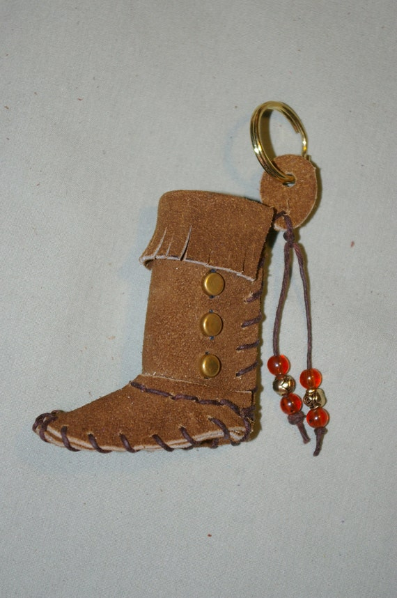 Lip Balm Case Brown Leather Moccasin Key Chain With Brass Studs