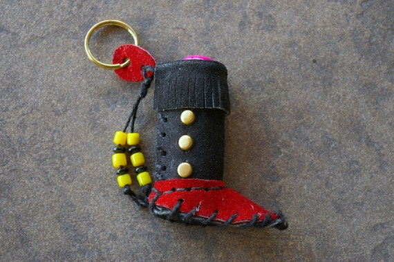 Red and Black Leather Moccasin Lip Balm Case Key Chain