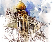 Art Print Watercolor over Pen and Ink Sketchbook Drawing - Marc Taro Holmes - House on Masonic - 8x10""