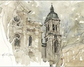 Art Print on Watercolor Paper - From my own Original Watercolor Painted in Montreal - Notre Dame de Grâce - Marc Taro Holmes - 8x12""