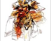"Fine Art Print Watercolor over Pen and Ink Sketchbook Drawing - Japanese Samurai Helmet - Asian Art Museum SF - Marc Taro Holmes - 8x10"""