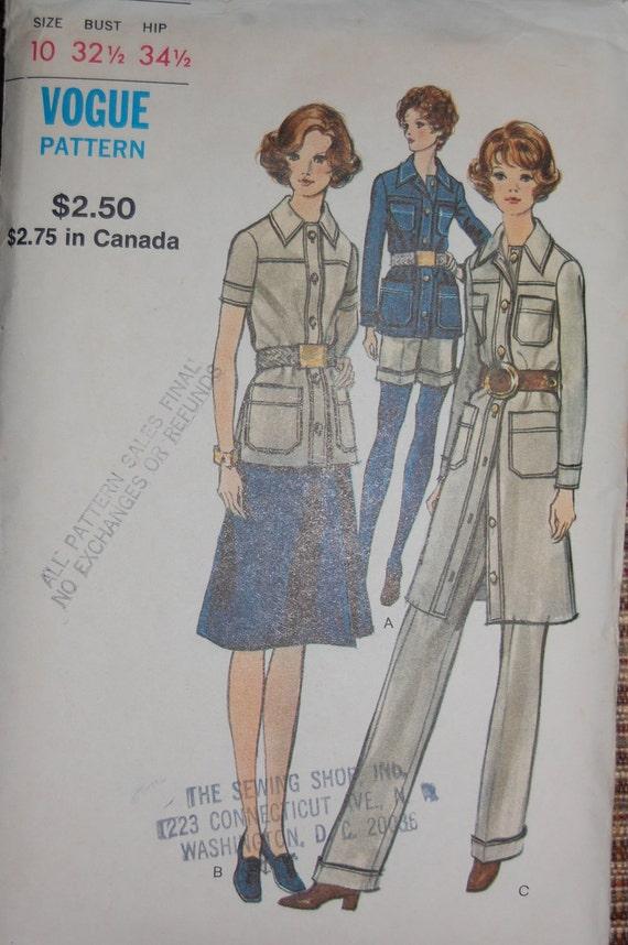 Vintage Sewing Pattern - Vogue 8175, Size 10, Bust 32-1/2, Hip 34-1/2