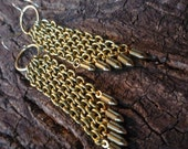 Gorgeous Vintage Brass Chain and Vintage Brass Bullet Charm Diagonal Dangle Wedge Earrings with Vintage Brass Rings