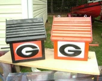 Georgia Bulldog- Birdhouses - Wooden - Custom Built - Weather Proof