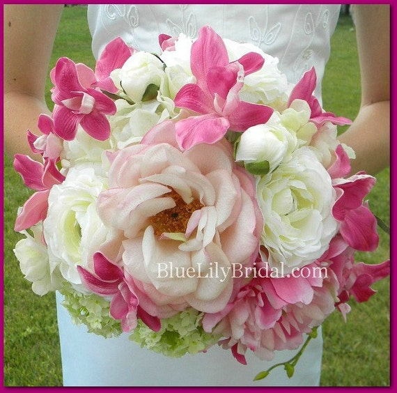 Real Touch Fuchsia, White and Blush PInk Bridal Bouquet and Boutonniere Set
