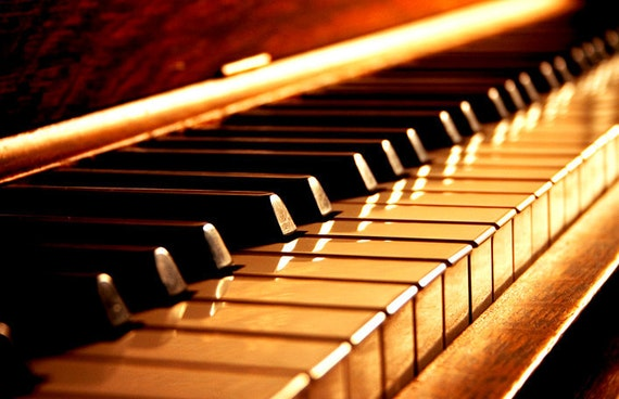 Items similar to Jazz Piano Photography - 8x10 Golden Keys ...
