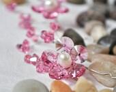Hair Accessories Pink Swarovski Crystals Cherry Blossom