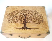Tree of Life Memory Box (Large) with Brass Accents: Handcrafted, Woodburned, Fully customized for you.