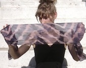 Hand Dyed Silk Scarf - Purple and Bubble Gum Popsicle with zig zag stripes, head wrap, shibori