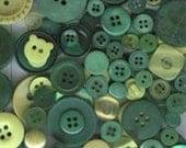25 Green Buttons - Rainforest Mix - spring green, leaf green, grass green, olive green