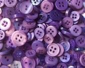 100 Purple Fusion Small Buttons - blackberry, grape, royal purple, bright purple, lilac, lavender-pink and more