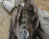 50% OFF Rosary Style Green Fire Agate Fairy Necklace