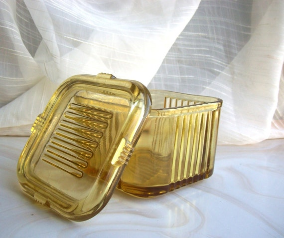 small, square vintage yellow glass refrigerator box for leftovers