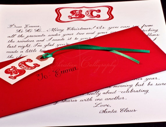 Handwritten Personalized Letter from Santa Claus in Calligraphy