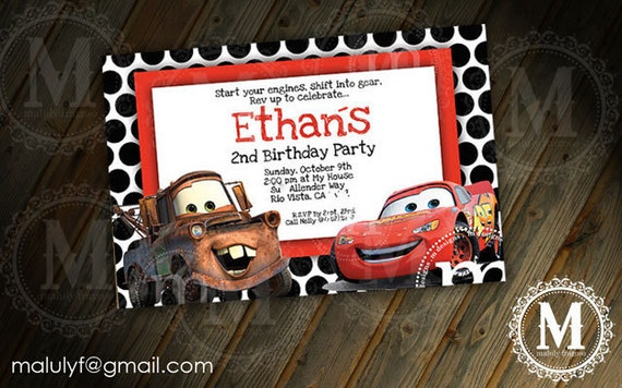 Pixar CARS  - DIY Printable Party Invitation