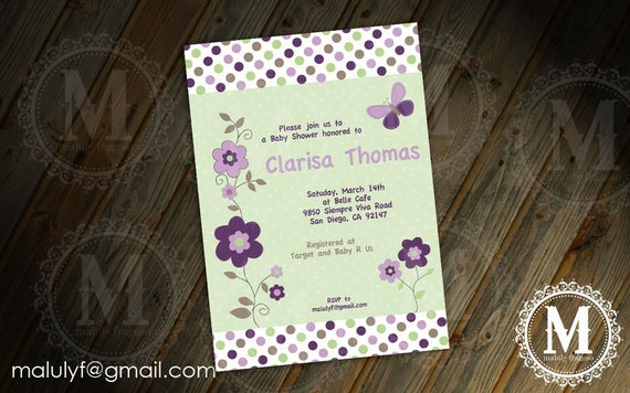 Butterflies Baby Shower Invitation /  DIY Printable Party Invitation