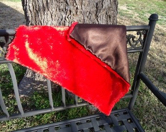 Red Plush Minky and Brown Satin Security Baby Blanket or Doll Blanket