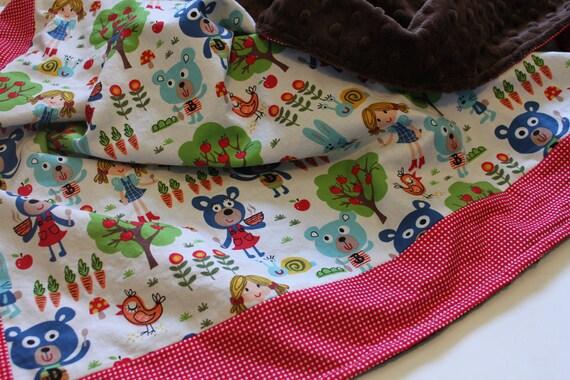 SALE, Baby Blanket, Three Bears Blanket, Minky Blanket