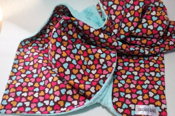 Baby Blanket, Hearts Baby Blanket,  Minky Blanket