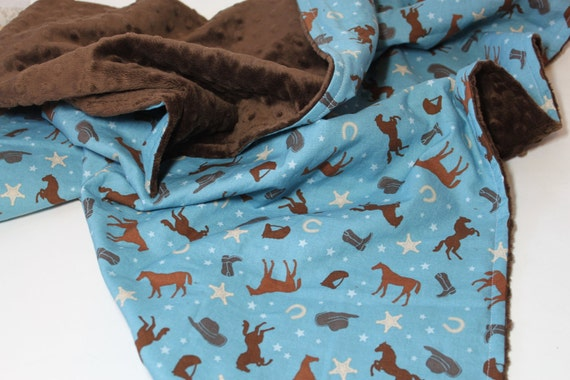 Baby Blanket, Cowboy Baby Blanket, Western Baby Blanket, Minky Baby Blanket
