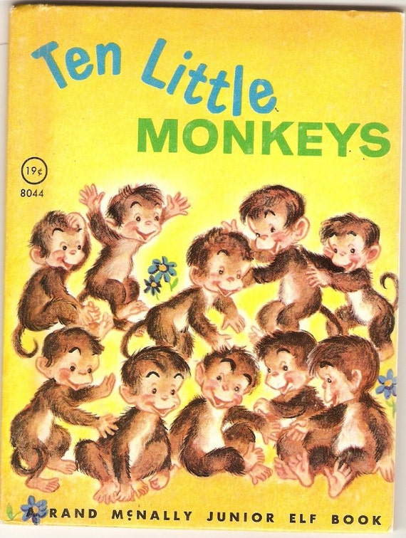 Rand McNally Junior Books, Set of Four, Raccoons, Hens, Monkeys, 1940s to 1960s