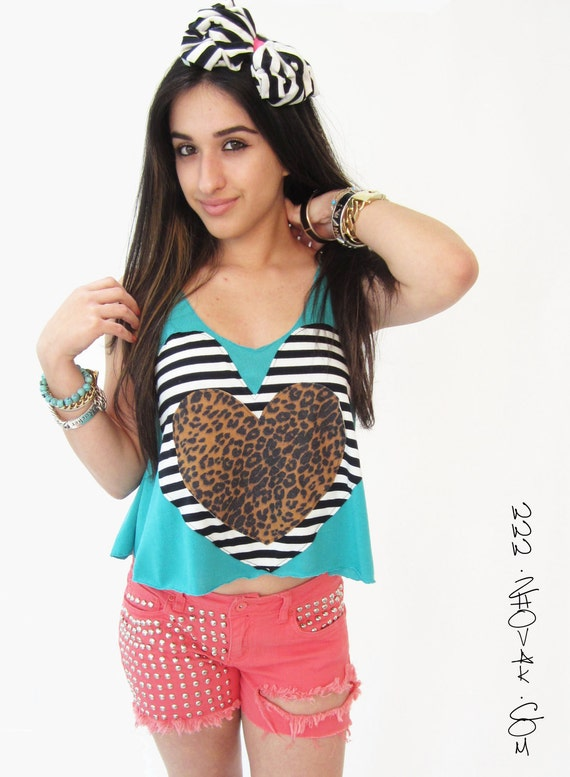 Black and White Stripe  Heart Tank Top