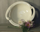 Ceramic serving bowl, white with swirl handles