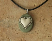 Oval ceramic pendant necklace, sage green with white heart and glass beads