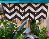 Bicycle basket liner, bike liner, brown chevron