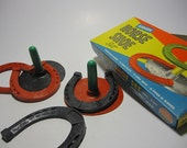 America's Birthday Sale - Lucky - COMPLETE Vintage Rubber Horse Shoe Game Box Set by Auburn Toys No. 707 - 1940s