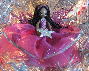 Fairy Doll Ornament Hot Pink Silver Star Tree Topper