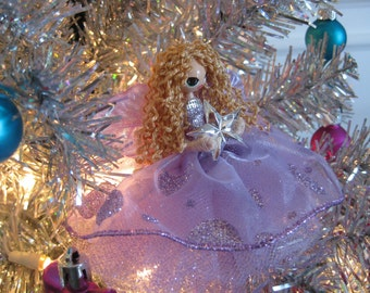 Fairy  Doll Ornament Tree Topper Lavender Blonde