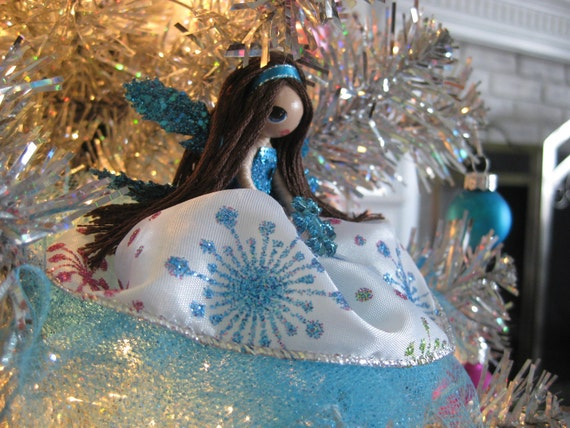 Fairy Doll Ornament Turquoise Snowflake Tree Topper