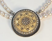 Artisan Downton Abbey Inspired Double Strand Pearl Necklace with Vintage Button Pendant   OOAK