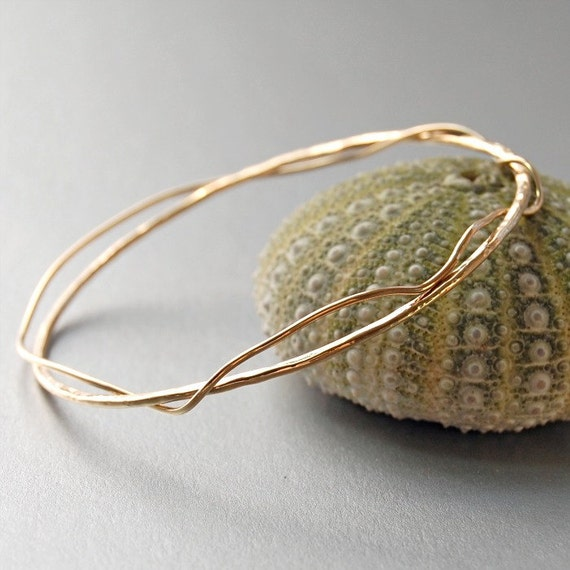 Gold Filled Bangle Bracelet with a Twist  . Stacking Bangle
