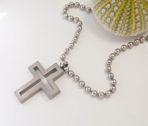 Unisex Cross Necklace. Brushed Titanium. Bestseller