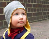 Jersey children's hats, earflap hat, Solar power yellow & heather grey, toddler clothing, size 46