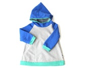 Hoodie Jumper, children clothing, heather grey, royal blue, cockatoo mint, spring sweatshirt, waldorf inspired, size 1T to 8T