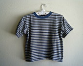 90's Blue Striped Cropped T-Shirt S/XS